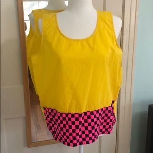 90s Gitano Express Yellow & Hot Pink Checkered Top